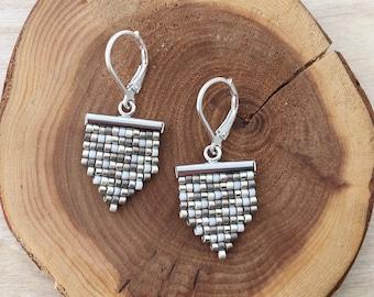 Silver & Pewter Bead Woven Earrings - Seed Bead Earrings - Boho Earrings