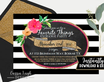 Favorite Things Party Invitations - Pink, Gold Black and White - Favorite Things -  Digital File