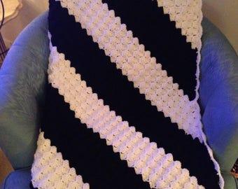 Crochet Afghan, Black and White Afghan,  Diagonal Stripe Afghan, Crochet Throw, Crochet Blanket, Lap Robe, Striped Afghan