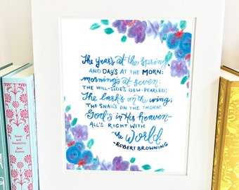 Robert Browning Quote - Anne of Green Gables - Wall Art Print- QRB