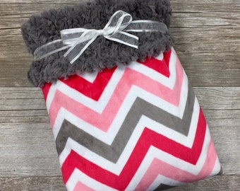 Sale! Baby Girl Blanket, Minky Baby Blanket, Coral Gray & White, Chevron Crib Bedding, Coral Baby Blanket
