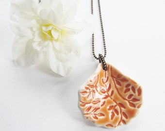 Unique Stoneware Pendant, Ceramic Imprinted Necklace, Burnt Orange Pottery Pendant
