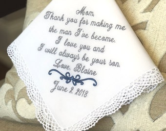 Mother of The Groom Gift - Handkerchief, Hankies, Hanky, Hankerchief  - MAKING ME the MAN -  Mother of the Groom Gift from Groom