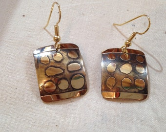 Golden earrings etched random pattern-polka dots and stripes