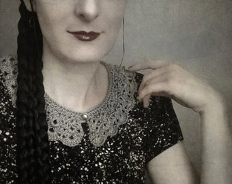 crochet collar - GREY, gothic, victorian, romantic, mourning, elegant, secretary, evening wear, scalloped edge, whimsical