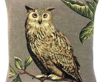 Owl Lover Gift - Eagle Owl Pillow Cover - Owl Decor - Eagle Owl Throw Pillow - 18x18 belgian tapestry cushion - Eagle Owl Gobelin Cushion