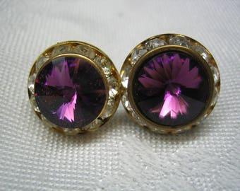 Vintage Amethyst Purple Rivoli Rhinestone Earrings pierced post