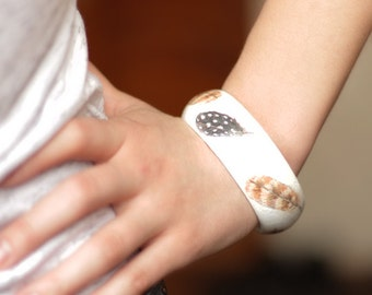 White Wood Bangle with Feather