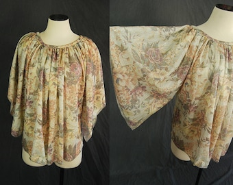 vintage 70s Angel Sleeve Blouse - Sheer Gauze Shirt Metallic Gold Lame Floral Shirt Sz M L XL