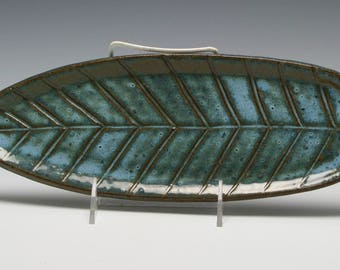 """12"""" X 4 1/2"""" Handmade Ceramic Leaf Platter in Shades of Blue and Brown/Ceramics and Pottery"""