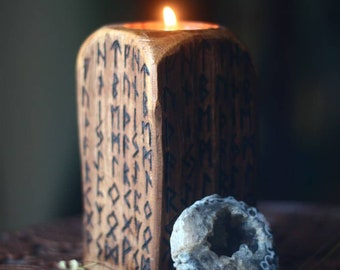 Rune Candle Holder - Altar Decorations - Pagan