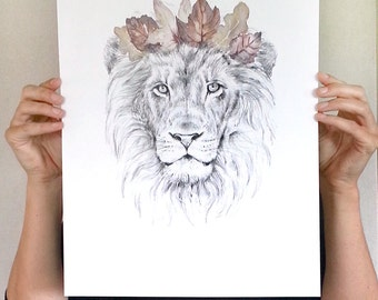 Large Lion art print A3- Modern  animal art print of pencil and watercolor drawing