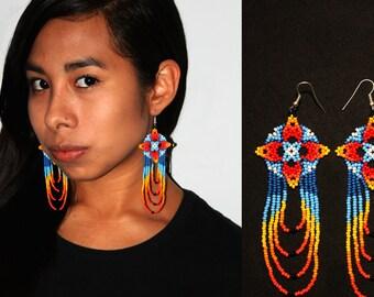 Colorful Huichol Native American Earrings, Native Dangle Earrings, Ojo de Dios Earrings, Beaded Cross Earrings, Native Beaded Earrings