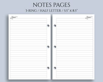 """Notes Pages, Lined Paper Planner Inserts, Medium Ruled, College Ruled ~ Half Letter / 5.5"""" x 8.5"""" / Mini 3-Ring (3RM-N)"""