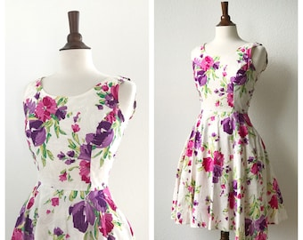 Vintage 50s tulle lined floral day dress sz S