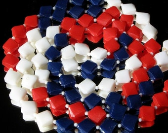 Flapper Vintage Necklace July 4th USA America Long Patriotic Mid Century Independence Day Nautical Diamond Beads Mad Men 1960s MAGA
