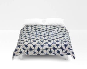 XL Authentic Indigo, Asa no Ha Shibori/Tie-dyed, Mudcloth, Bed Cover, Coverlet from West Africa - Indigo, White