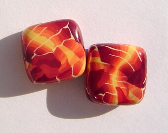 Canyon Square Handmade Artisan Polymer Clay Bead Pair