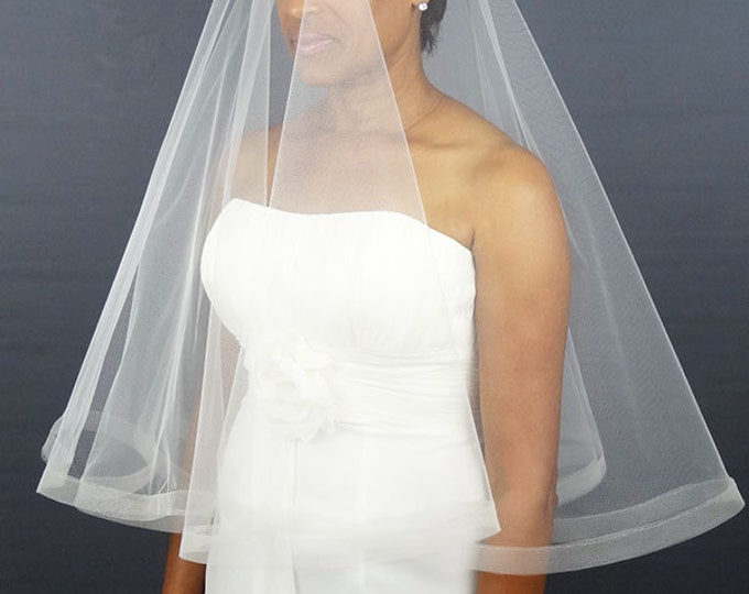 "Featured listing image: Wedding Veil with Horsehair Trim, Drop Veil, 1/2"" Horsehair Trim or 1"" Horsehair Edge"