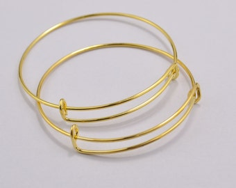 50Pcs Gold Color Adjustable Bangle Bracelet Charm, Bracelet Base,Bangle Bracelet Set,Wire Bangle,Blank,Jewelry Making Supplies 68mm