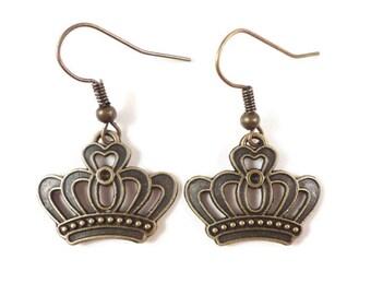 Bronze Crown Earrings, Crown Charm Earrings, Brass Metal Earrings, Dangle Earrings, Teen Jewelry, Women's Costume Jewelry, Gift for Her