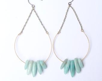 EVERETT | Amazonite Stone Drop Large Dangle Hoop Earrings