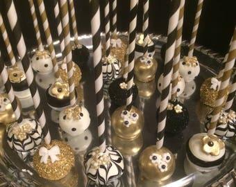 "12 Black , White and Gold ""Nugget & Herringbone"""" cake pops, bridal shower, wedding, birthday"