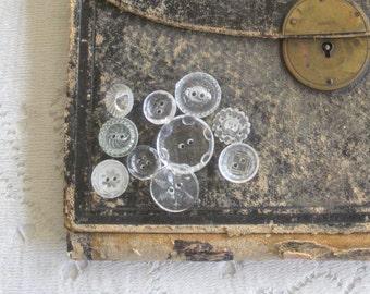 Ten Clear Vintage Buttons