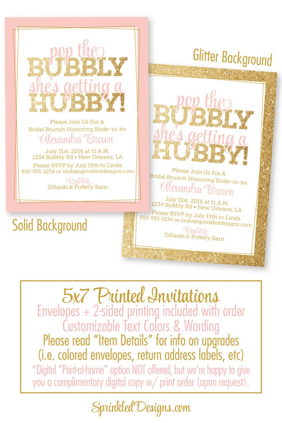 Bridal Shower Invitation Pop the Bubbly She\'s Getting A