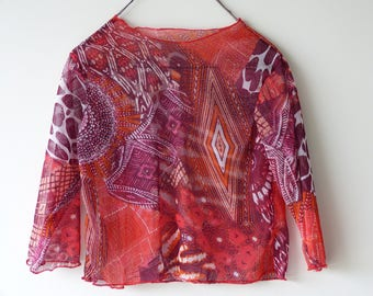 Red, purple printed jersey T-shirt