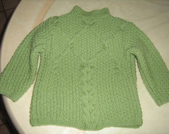 Green Wool Sweater mixed t. 2 years hand knitted