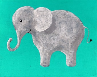 "The Blue Elephant (ORIGINAL ACRYLIC PAINTING) 8"" x 10"" by Mike Kraus"