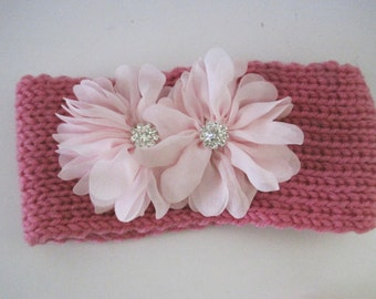 Baby Toddler Pink Knit Headband Head Wrap Ear Warmer with Light Pink Chiffon Flowers and Rhinestone Accent Baby Winter Hats Toddler Hats
