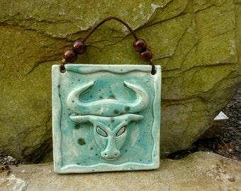 Wall art Zodiac pottery TAURUS Turquoise April 21-May 20  wall hanging