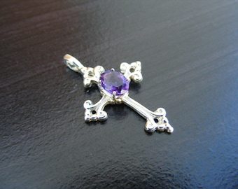 S314 Made to Order... Sterling Silver Cross Pendant with 1 carat Natural Amethyst Gemstone