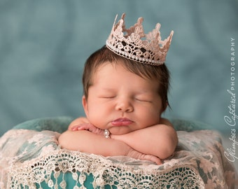 Newborn Crown, Sweetest Little Pink and Pearls Lace Crown, Newborn Photography Prop, Baby Crown, Infant Crown, Pink