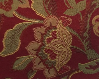 Red Upholstery Floral - Upholstery Fabric by the Yard