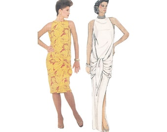 Very Easy 80s Evening or Cocktail Dress Sewing Pattern Vintage Vogue 1346 Attached Drape or Scarf Adele Simpson Bust 30