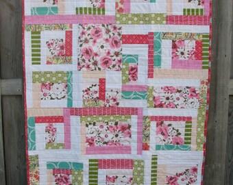 Pink Patchwork Quilt - throw size