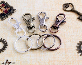 12- Economical Swivel Hook Keychain with Key Rings - Includes Classic Lobster Swivels and 1 Inch Key Ring Loops - Keychain Fobs - Key Chains