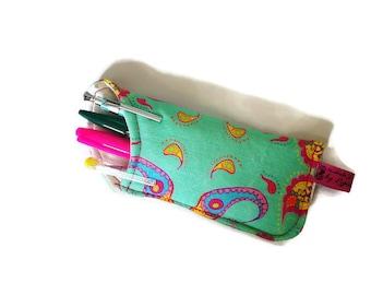 Pencil Case, Pencil Pouch, Mint Green Pencil Case, Fabric Pencil Case, Stationery Accessory, Fun School accessory, Cute College Stationery