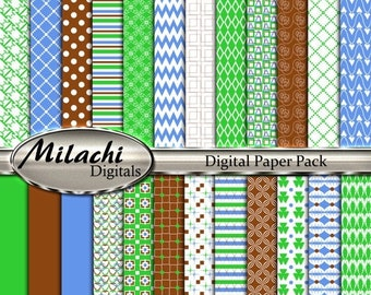 """60% OFF SALE Green blue brown digital paper pack, 12"""" x 12"""" scrapbook papers, backgrounds - Commercial Use - Instant Download - M261"""