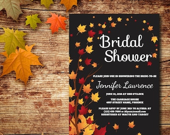 Fall Leaves Bridal Shower Invitation, Autumn Shower, Printable, Black Shower Invite, RSVP, DIY Template, Instant Download, Editable PDF E41A