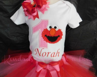 Elmo 1st 2nd 3rd first birthday tutu set outfit with matching clip
