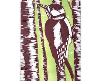 Linocut Postcard Woodpecker Nature Bird