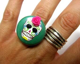 Green Sugar Skull Ring Adjustable Dia de los Muertos Jewelry