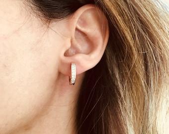 Silver Hoop Earrings, Cz Hoop Earrings, Huggie Earrings, Minimalist Jewelry