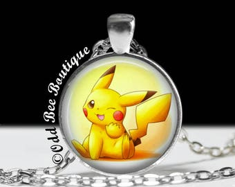 "Pikachu Necklace - Pokemon Jewelry - Pokemon Go Fan Gift, Cards,Japanese, Anime, Otaku, Kawaii, Cute, Gift Ideas - 1"" Silver & Glass Pendant"