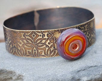 Brass Bangle Bracelet Lampwork Glass Beaded Cuff Purple Orange