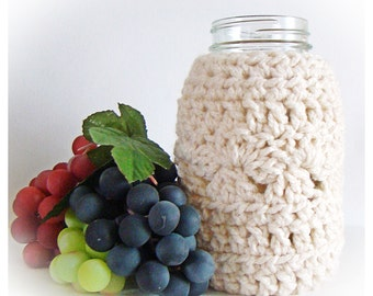 Bone Ball Mason Jar Cozy Quart size, Off White canning cover, Cream colored jar sleeve, Eco friendly Bamboo Hostess Gift